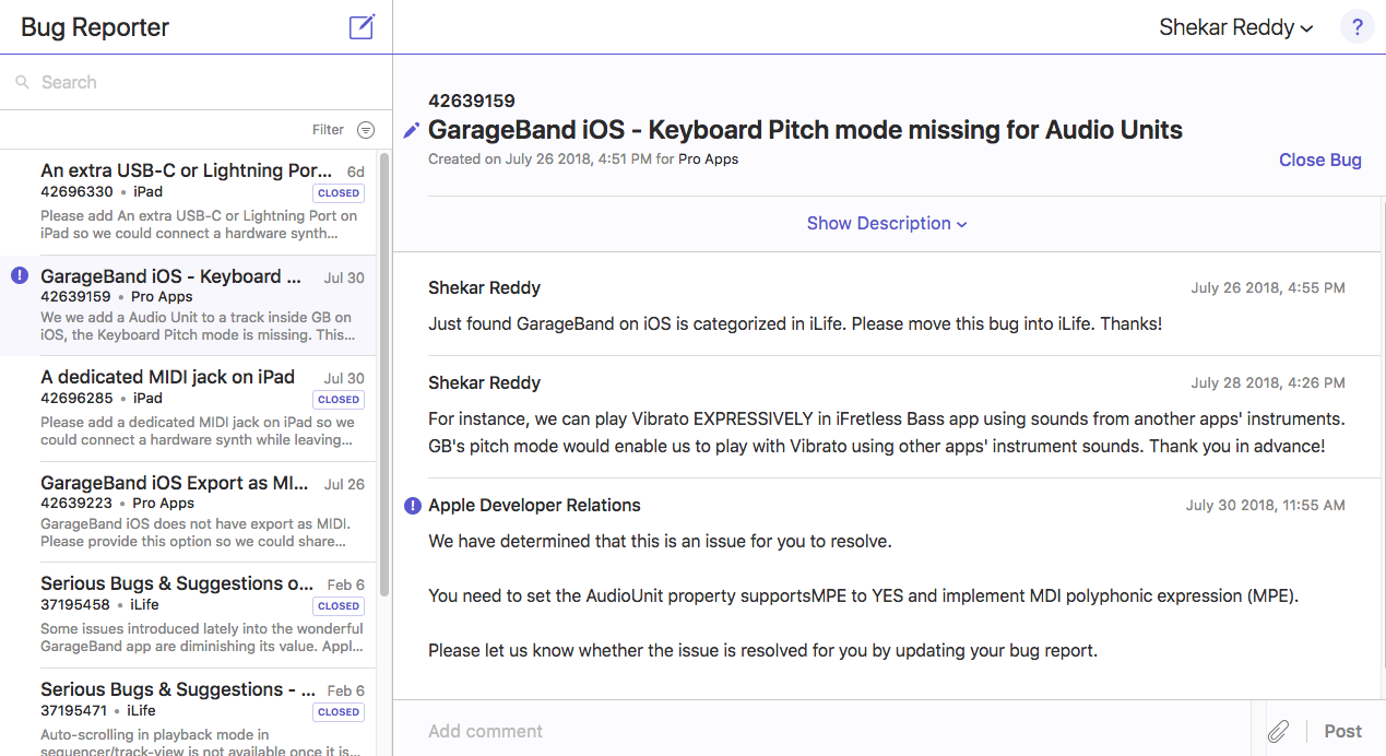Bugs & suggestions reported to Apple on GarageBand for/and iOS