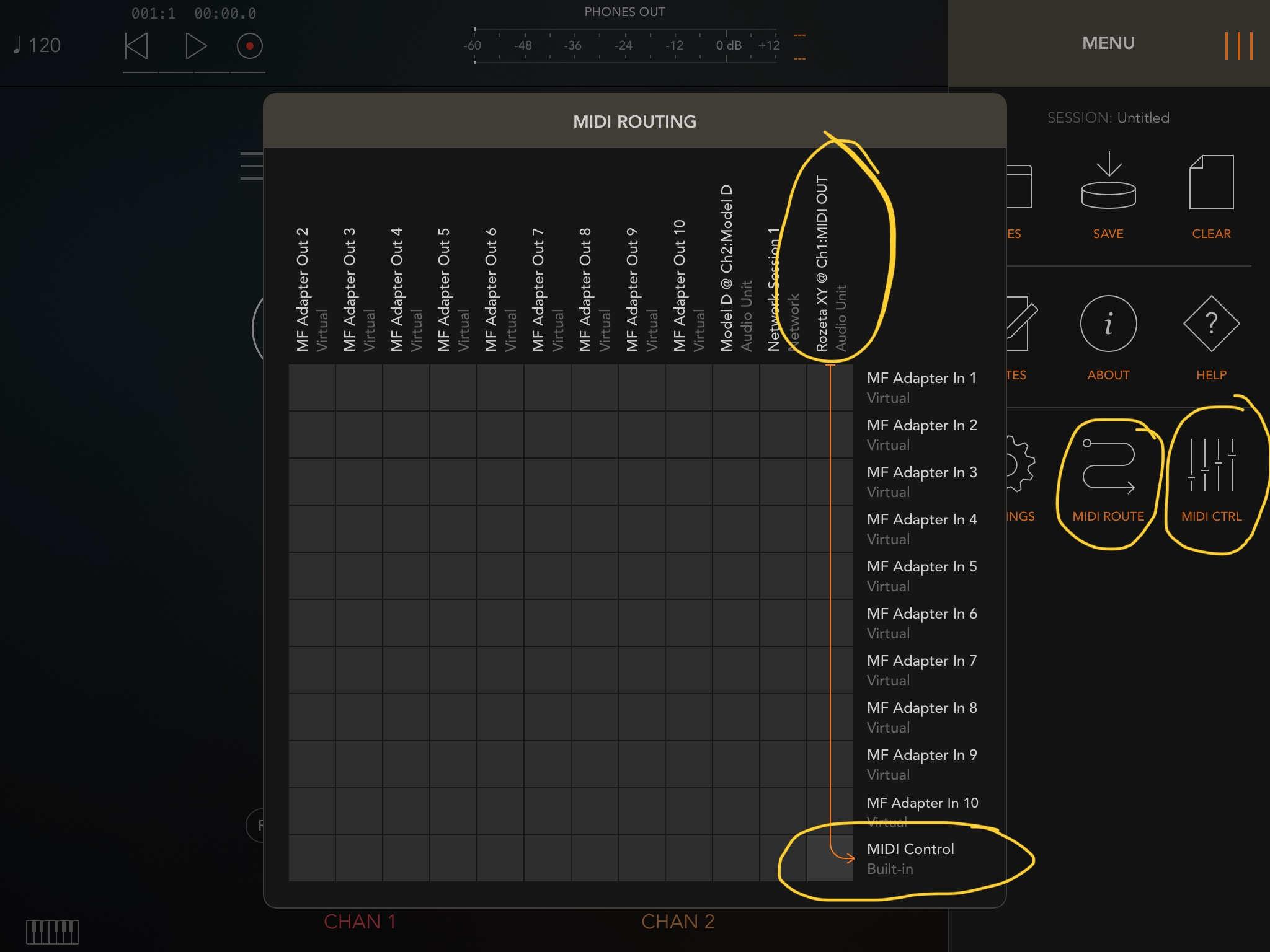 Rozeta XY/LFO and Moog in AUM - How do you make them play nice