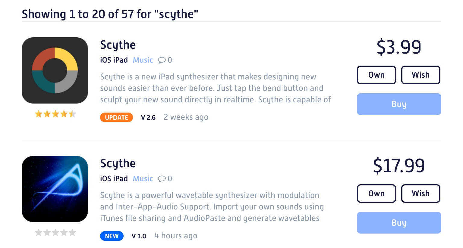 Scythe: A new wavetable synth with duplicate name in App