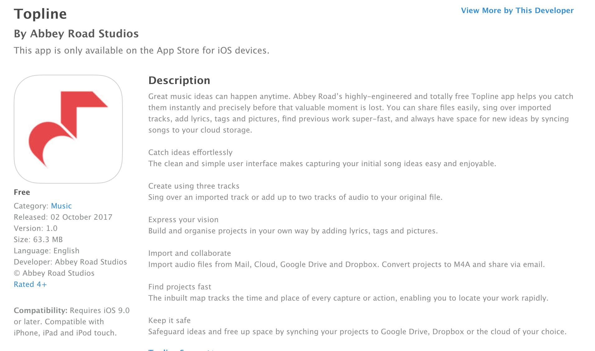 Topline app from Abbey Road Studios — Audiobus Forum