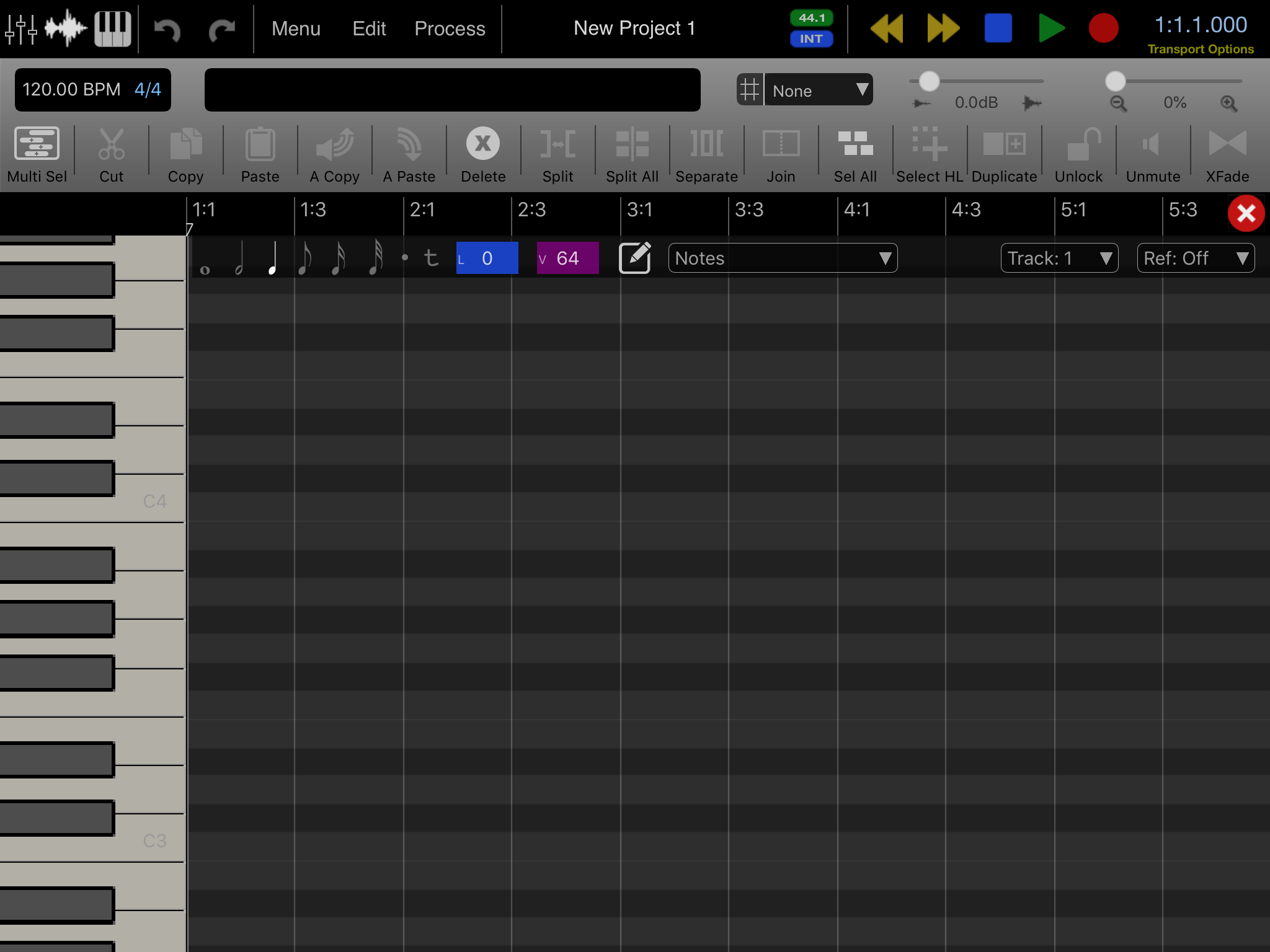 Pianoroll (Grid-) Sequencer AUv3 for AUM/Audiobus