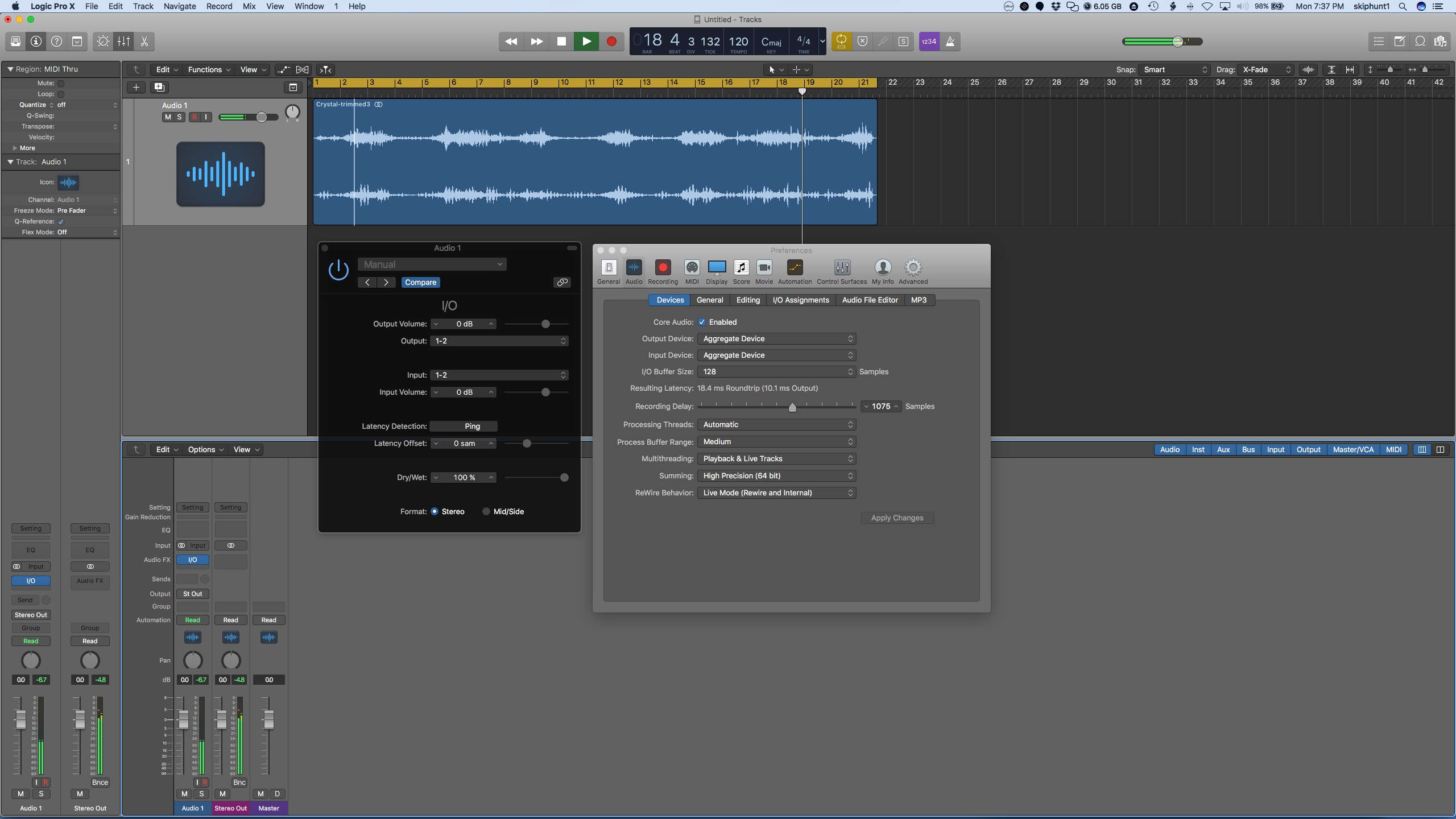 Routing Audio from Logic Pro X thru iPad and back to LPX